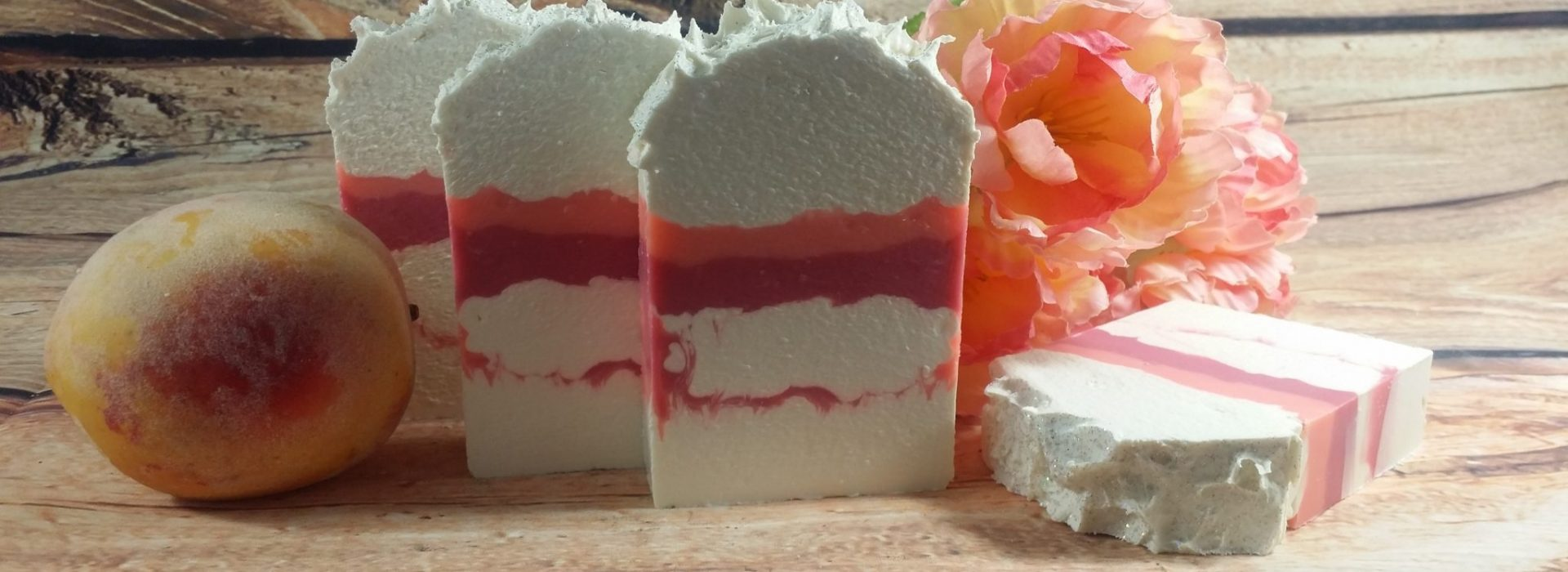 white peach and silk blossoms soap